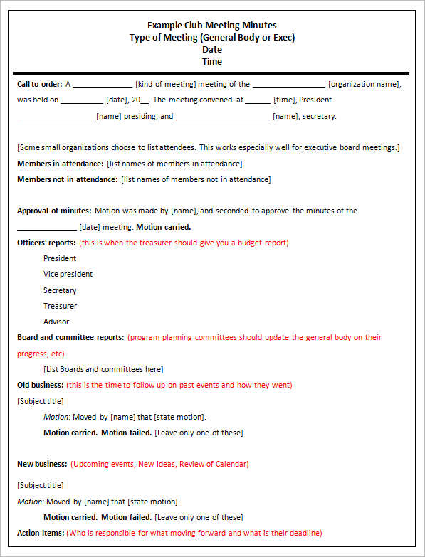 Meeting Minutes Forms – Meeting Minutes Template Pages