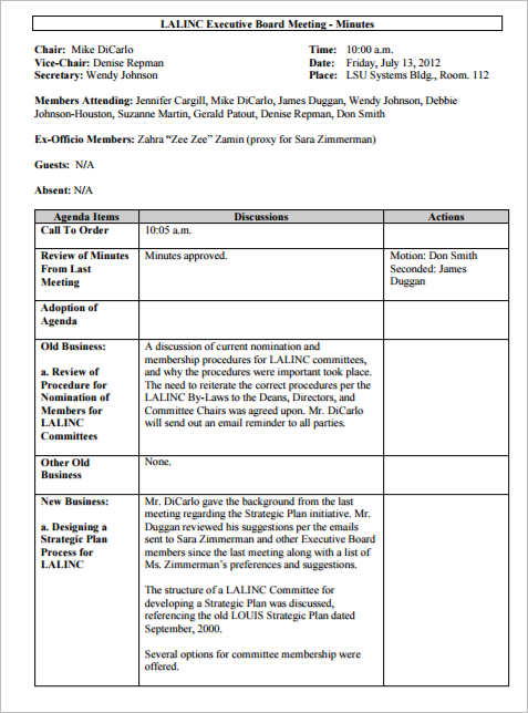 Meeting Minutes Template Free Word Form Excel PDF Documents – Meeting Templates Word