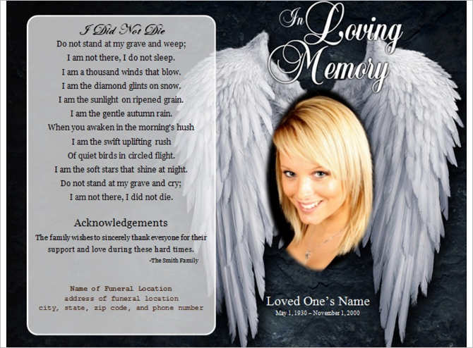 Free Memorial Angel Funeral Program Templates ...  Funeral Pamphlet Templates