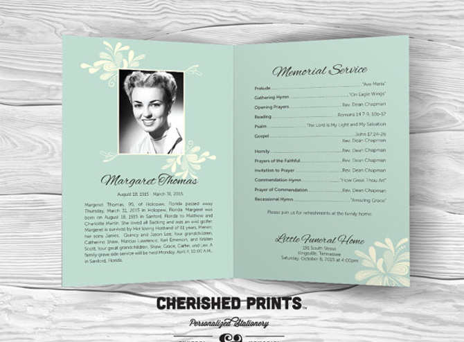 Modern Excel Cherished Print Program Template ...  Memorial Pamphlet Template Free