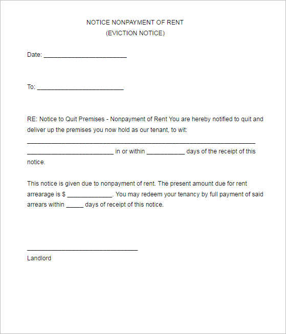 non-patment-notice-of-rent-form-template