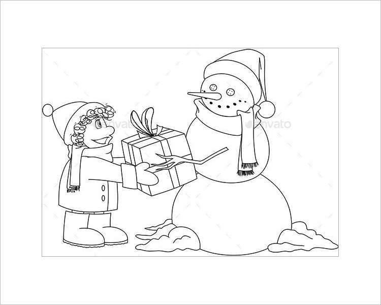 premium-christmas-snowman-colouring-page-template