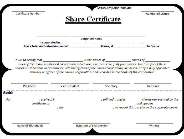 Stock Certificate Template Free Word Form PDF Excel PDF – Shareholder Certificate Template