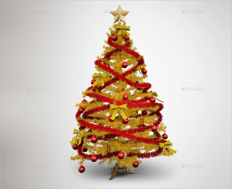 Realistic Christmas Tree Mockup Design