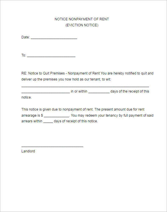 12 eviction notice template free word pdf formats