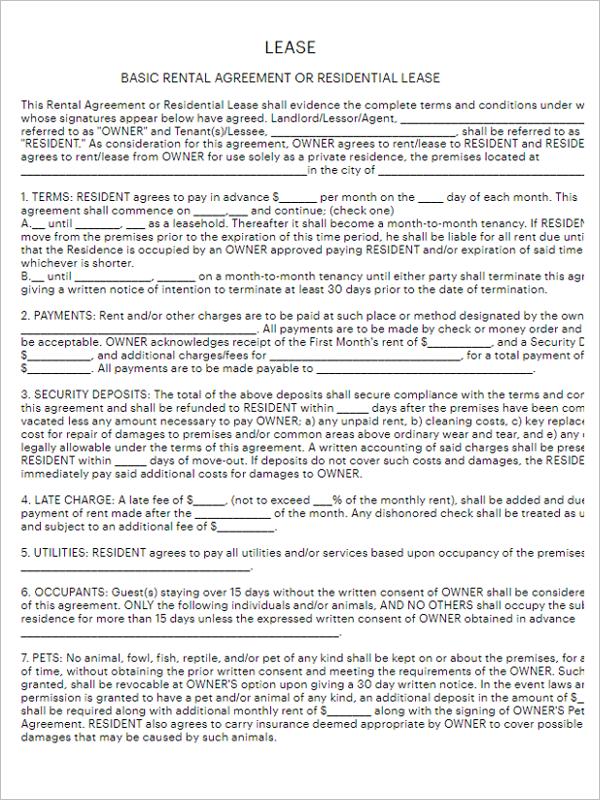 Rental Agreement Form PDF