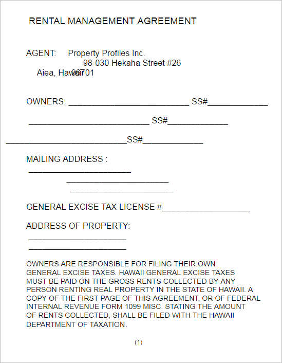 Property Management Agreement Property Management Agreement Form