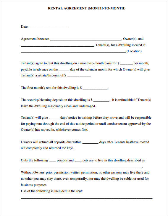 Simple Rental Agreement Residental Agreement Template