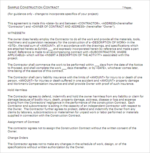 Residential Construction Contract Form