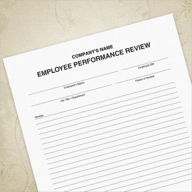 Restaurant Employee Evaluation Form