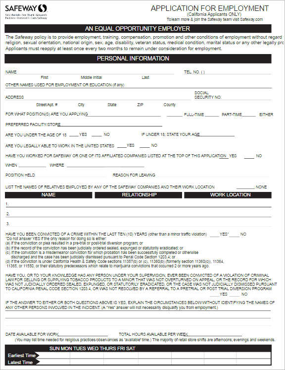 safeway-job-application-form-template