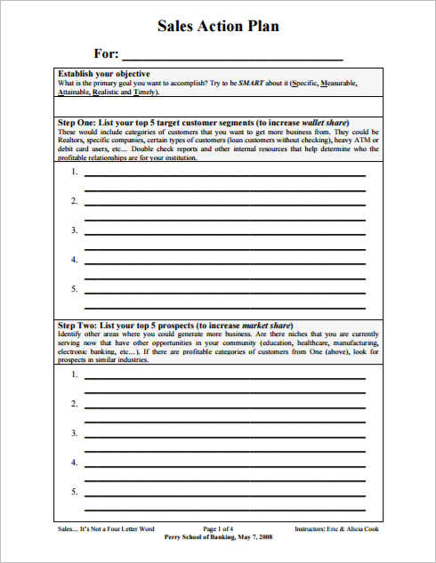 Sales Plan Template Free Word Form Pdf Formats