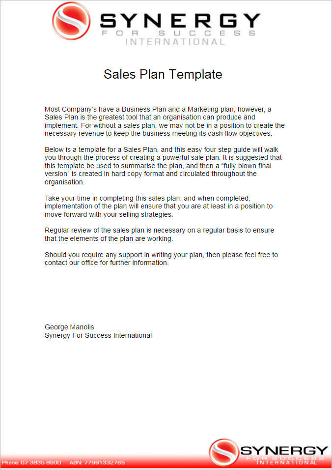 Sales Plan Template  Free Word Form Pdf Documents  Creative