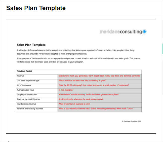 Sales Plan Template - Free Word, Form, Pdf Documents | Creative