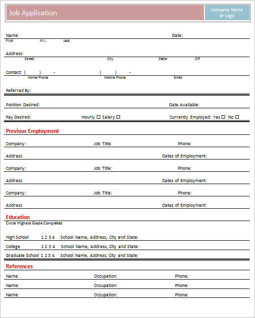 Employment Application Form Template Free Word PDF Excel – Sample Employment Application