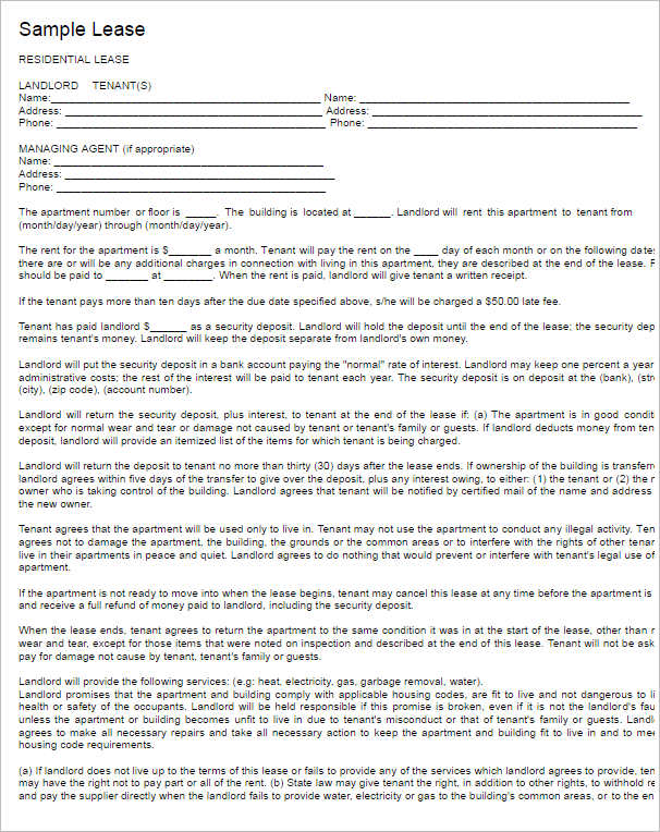 Rental Lease Agreement 282 Free Word PDF Excel Format – Sample Blank Lease Agreement