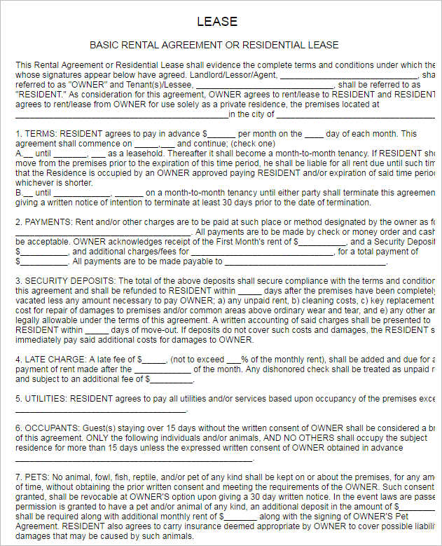 Sample Residential Lease Agreement Template Boarding House – Basic Lease Agreements