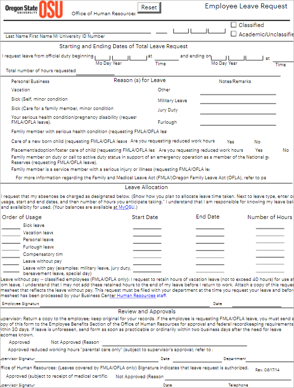 Sample Leave Write Up Form For Employee