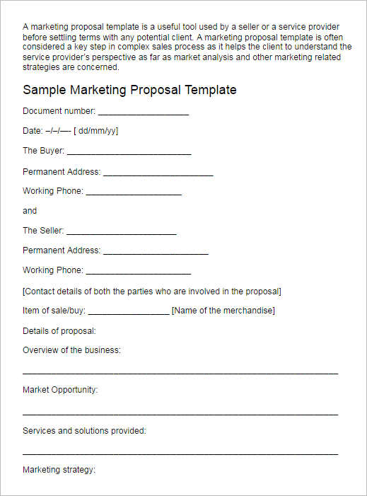 Business Proposal Template  Word Sample Pdf Format