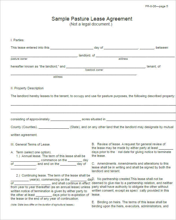 Sample Pasture Lease Agreement Form