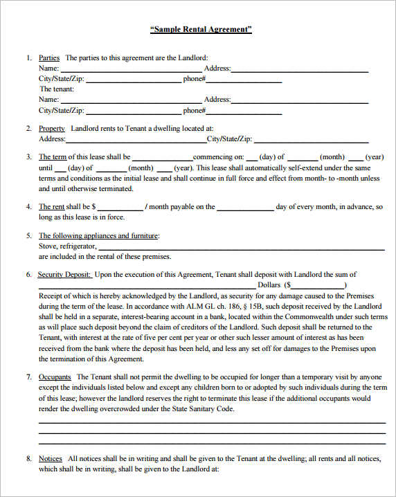 Sample Rental Agreement Template ...