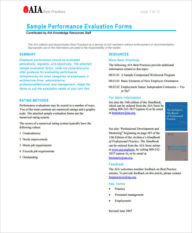 Sample Word Performance Evaluation Form