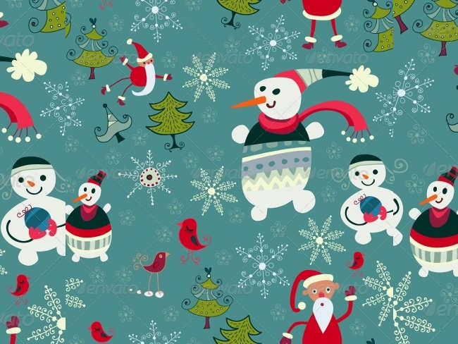 santa-snowman-background-vintage-christmas-textures