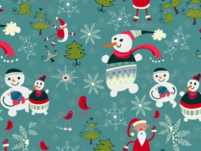 santa-snowman-background-vintage-christmas-textures