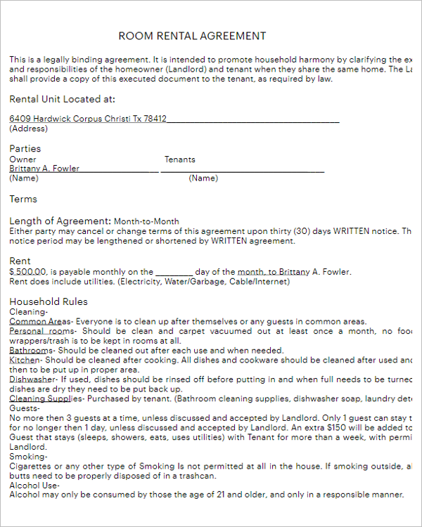Short Term Rental Agreement Form