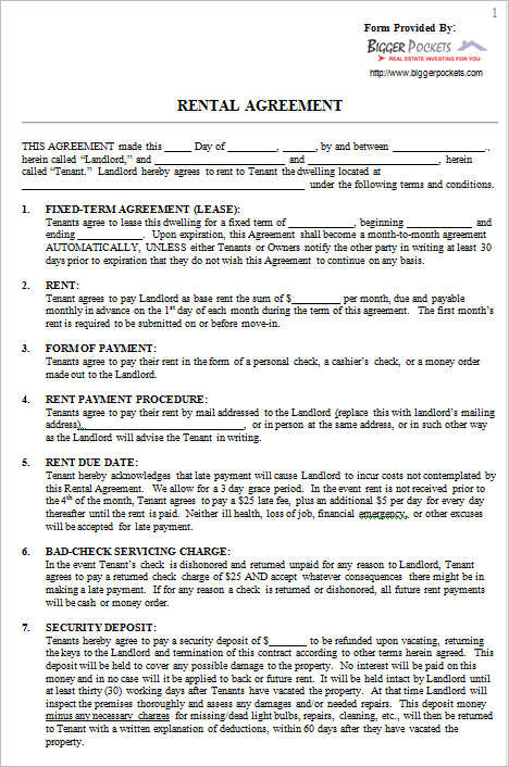 Rental Agreement Form Sample Example Creativetemplate – Basic Lease Agreements