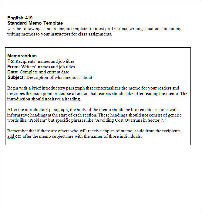 Memo Template. Sample Memo Template · Casual Memo Letter Template