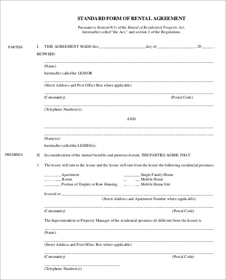 Standard Rental Agreement Template Form ...