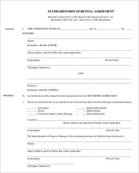 standard-rental-agreement-template-form
