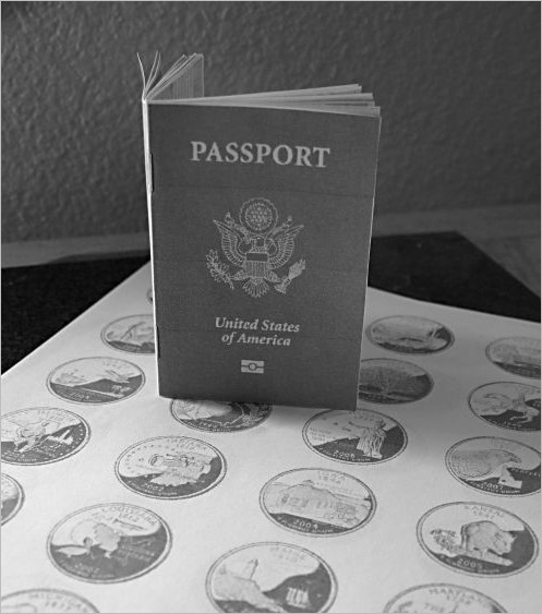 US State Stamp Passport Template