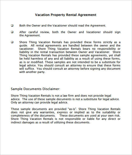 Rental Agreement Form Sample, Example - Creativetemplate