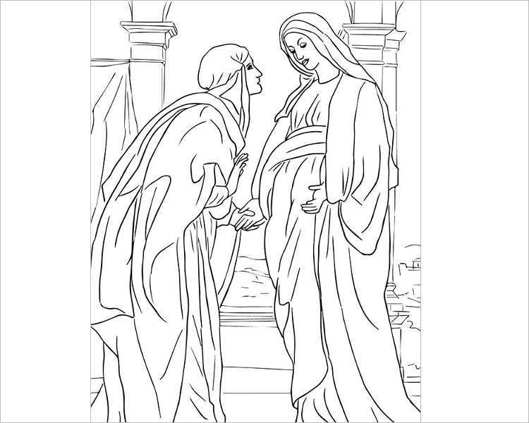 visitation-of-mary-to-elizabeth-coloring-page