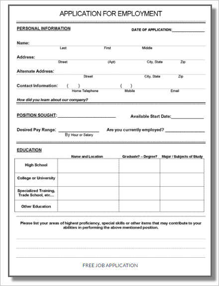 Job Application Model Form Templates  Application For Employment Template Free