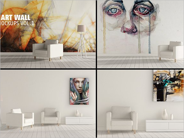 Art Wall Mockup PSD