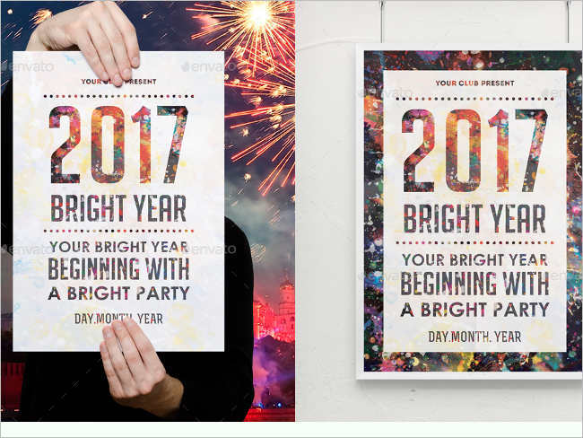 Bright New Year 2017 Poster Design Templates