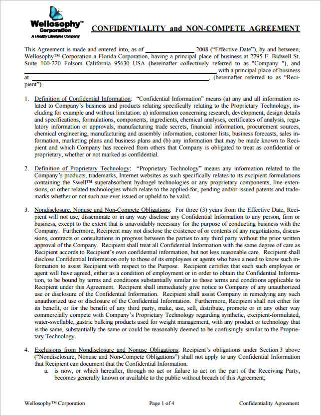 confidentiality-non-compete-agreement-templates