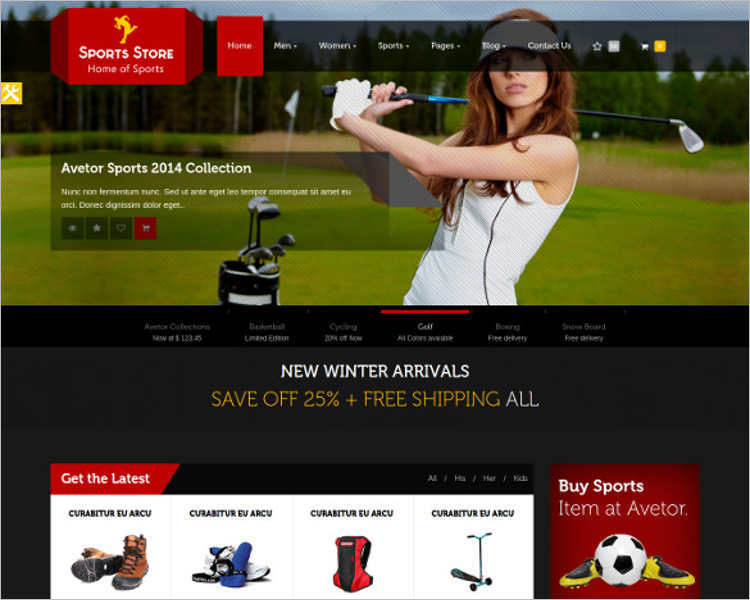 Php ecommerce website templates free premium e commerce sports store php website templates maxwellsz