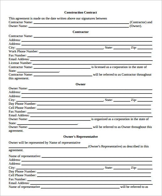 Construction Agreement Template Word Form PDF Excel Documents – Free Agreement Template