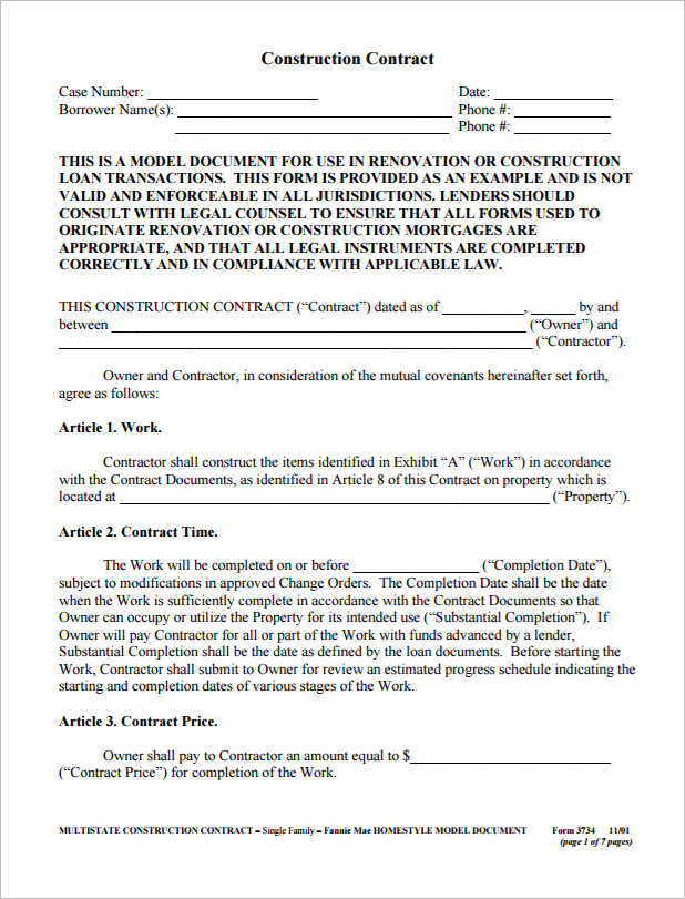 Construction Agreement Template Free Word Pdf Formats