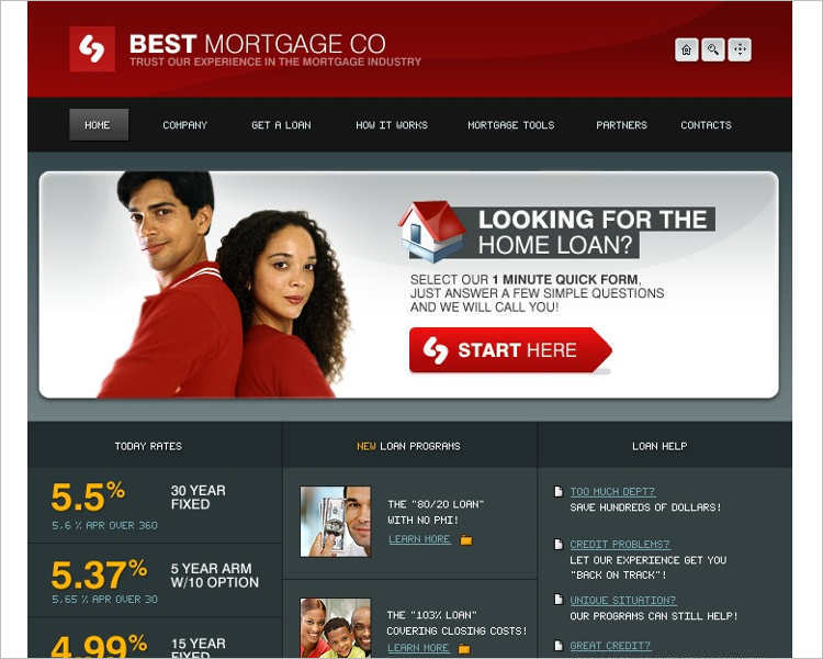 free-excel-mortgage-website-themes-templates