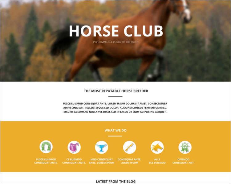 free-horse-breed-club-wordpress-theme-templates