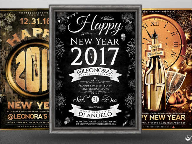 Free New Year 2017 Poster Design