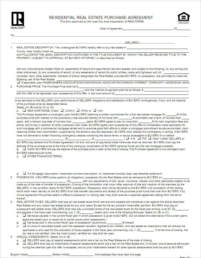 Residential Purchase Agreement Templates  Creativetemplate
