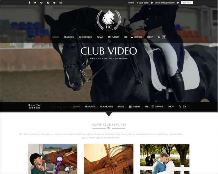 horse-video-club-wordpress-theme-templates