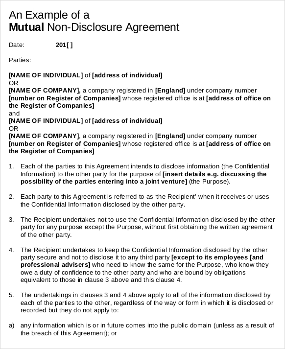 NonDisclosure Agreement Templates Free PDF Word Formats - One page nda template