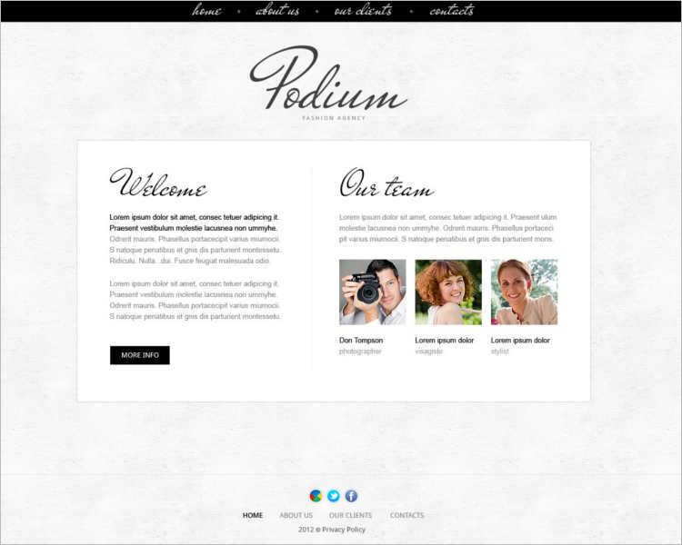 podium-model-agency-website-templates